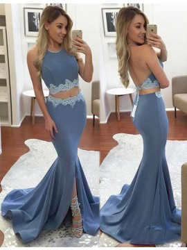 Two Piece Mermaid Lace Backless Jewel Lavender Long Prom Dress
