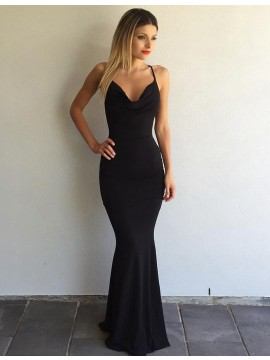 Black Mermaid Scoop Sleeveless Sweep Train Criss-Cross Straps Prom Dress