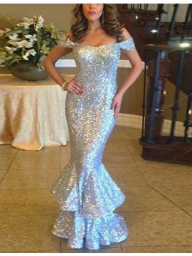 Mermaid Off the Shoulder Floor-length Tiered Silver Sequined Prom Dress