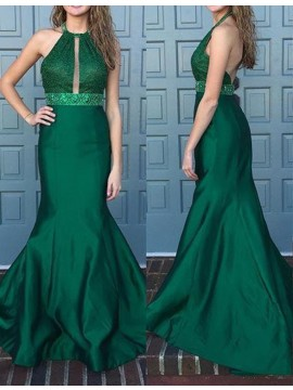 Mermaid Lace Backless Beading Halter Sweep Train Hunter Prom Dress