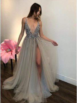 Deep V-neck Beading Sleeveless Silver Prom Dress with Split Backless Evening Dress
