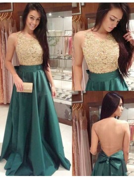 Illusion Back Lace Round Neck Beading Bowknot Hunter Long Prom Dress