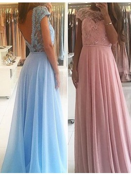 Blue/Pink Backless Bateau Cap Sleeves Long Prom Dress with Appliques Beading