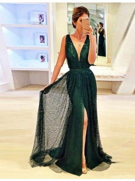 Sheath Hunter Deep V-neck Long Lace Prom Dress with Split Sequins