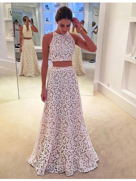 Two Piece Jewel Neck Sleeveless Floor-length White Lace Prom Dress