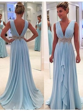 Deep V-neck Sweep Train Blue Pleated Prom Dress with Beading Ruffles