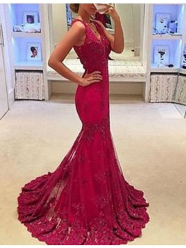 Mermaid V-neck Sweep Train Sleeveless Prom Dress with Appliques Beading