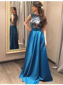 Blue Jewel Sleeveless Floor-length Prom Dress with Lace Pleats
