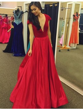 Red Deep V-neck Cap Sleeves Floor-length Prom Dress with Pleats