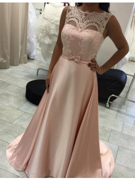 Pearl Pink Bateau Sleeveless Sweep Train Prom Dress with Bowknot Lace