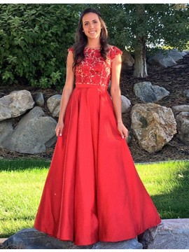 Exquisite Bateau Long Red Prom Dress with Cap Sleeves Appliques