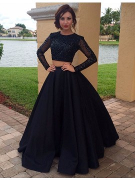 Two Piece Long Black Prom Dress with Sleeves Beading