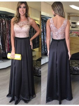 Modern Ivory High Neck Sleeveless Sweep Train Two Piece Lace Mermaid Prom Dress