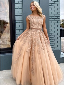Modern Sleeveless Champagne Prom Dress with Appliques Beading