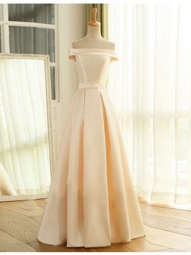 Fancy Off the Shoulder Lace-up Long Champagne Prom Dress with Sleeves