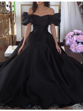 Modern Off the Shoulder Short Sleeves Lace-up Black Prom Dress