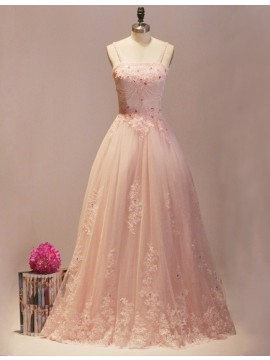 Popular Peach Strapless Lace-up Detachable Prom Dress with Appliques Beading