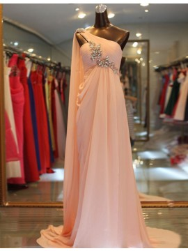 Chic Light Champagne One Shoulder Peach Prom Dress with Beading