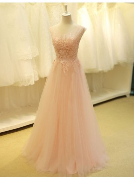 Decent Pearl Pink Long Prom Dress with Lace Appliques