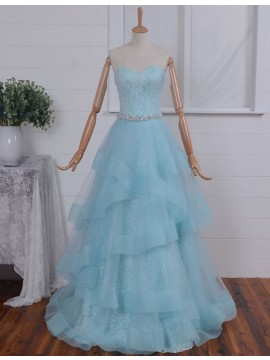 Fashion Blue Sweetheart Floor Length Tiered Prom Dress with Beading Lace
