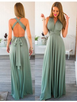 Special V-neck Sleeveless Floor Length Backless Prom Dress with Pleats Sash