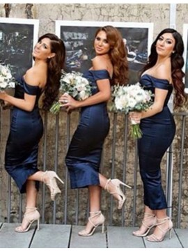 Modern Navy Blue Off the Shoulder Short Sleeves Tea-Length Sheath Bridesmaid Dress
