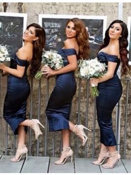 Modern Navy Blue Off the Shoulder Short Sleeves Tea-Length Sheath Bridesmaid Dress