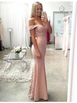 Elegant Blush Off the Shoulder Floor Length Mermaid Prom Dress with Lace