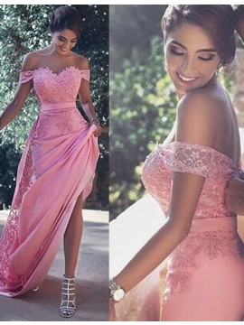 Glamorous Pink Off the Shoulder Detachable Sheath Prom Dress with Lace