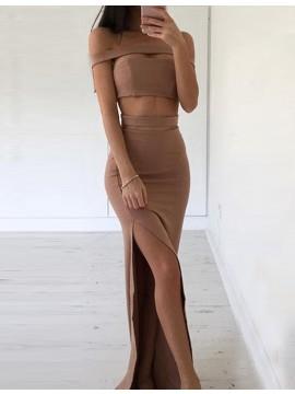 Simple Off the Shoulder Split Floor Length Two Piece Sheath Prom Dress