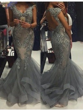 Gorgeous Grey V-neck Open Back Sweep Train Mermaid Prom Dress with Appliques Beading