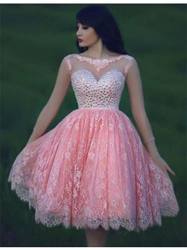Fashion Pink Bateau Sleeveless Open Back Short Lace Prom Dress with Beading