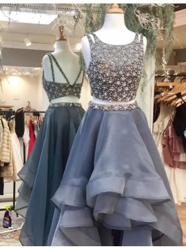 Fashion Grey Scoop High Low Tiered Two Piece Prom Dress with Beading