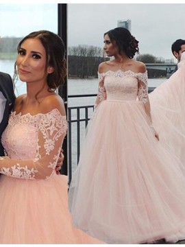 Decent Pearl Pink Off the Shoulder Court Train Prom Dress with Lace
