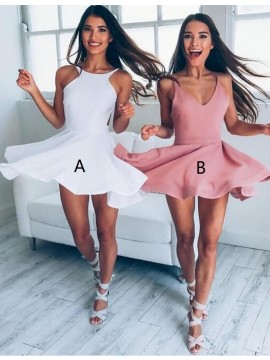 Simple Blush V-neck Sleeveless Elastic Satin Short A-line Prom Dress