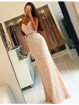 Glamorous Ivory Sweetheart Long Mermaid Sequins Backless Prom Dress with Beading