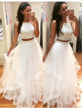 Modern Two Piece White Halter Organza Floor-length Beaded Prom Dress