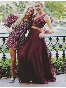 Modern Two Piece Burgundy V-neck Sweep Train Prom Dress with Lace