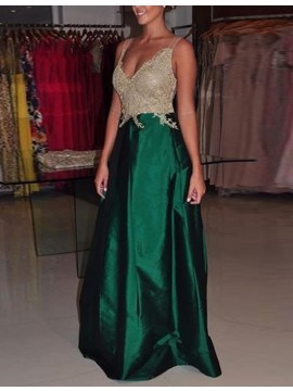 Modern A-line Green V-neck Floor-length Prom Dress with Appliques