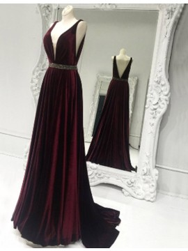 Elegant A-line Burgundy V-neck Sweep Train Prom Dress with Beading
