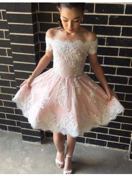 Modern A-line Pink Off-the-shoulder Above-knee Prom Dress with Appliques