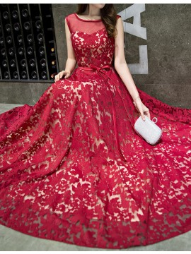Elegant A-line Red Bateau Sweep Train Prom Dress with Belt Lace