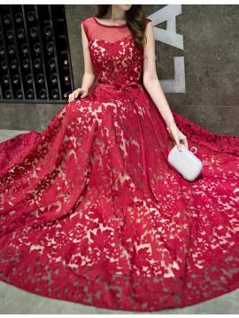 Elegant A-line Red Bateau Sweep Train Prom Dress with Belt Lace