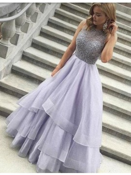 Modern A-line Jewel Floor-length Prom Dress with Beading