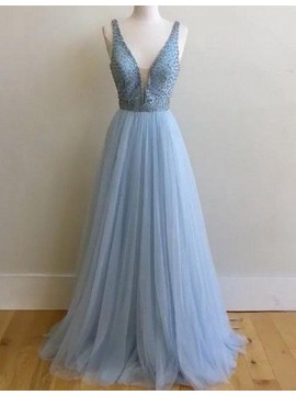 Elegant A-line Blue V-neck Sweep Train Prom Dress with Beading