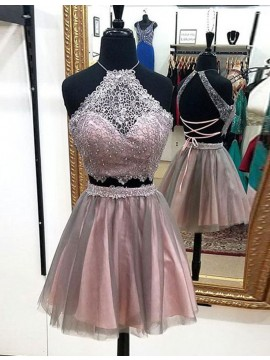Sexy Two Piece Blush Halter Above-knee Homecoming Dress with Beading Lace