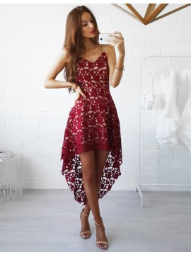 Sexy A-line Burgundy Spaghetti Straps Hi-Lo Prom Dress with Lace