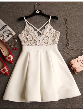 Modern A-line Ivory V-neck Criss-Cross Straps Short Prom Dress with Lace