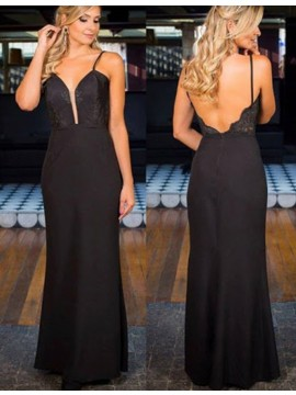Nice Spaghetti Straps Long Backless Sheath Black Prom Dress with Lace