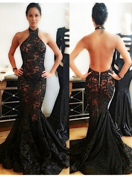 High Quality Halter Sweep Train Black Lace Mermaid Prom Dress Backless